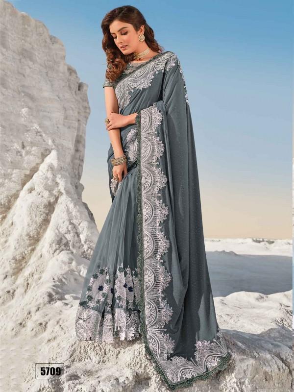 Grey Colour Imported Fabric Women Saree.