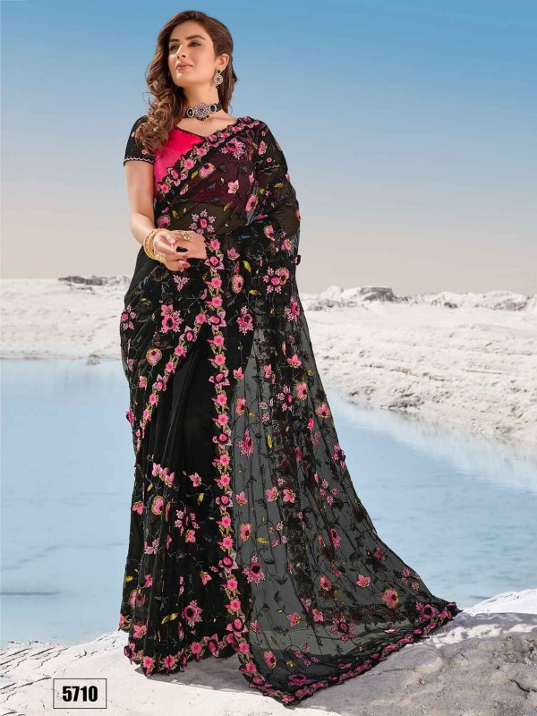 Black Colour Party Wear Saree in Net Fabric.