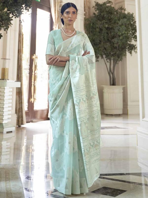 Turquoise Colour Silk Designer Saree.
