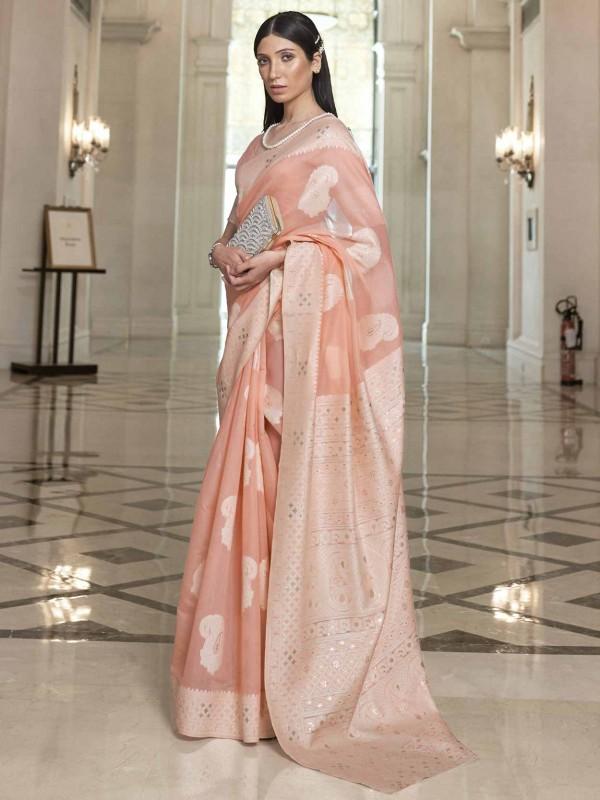 Silk Designer Saree Peach Colour.