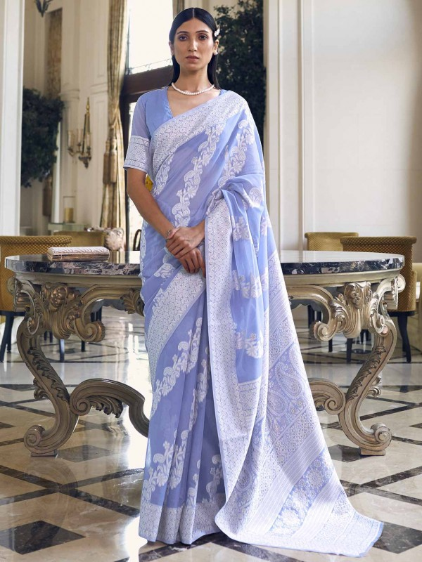 Blue Colour Silk Fabric Weaving Saree.