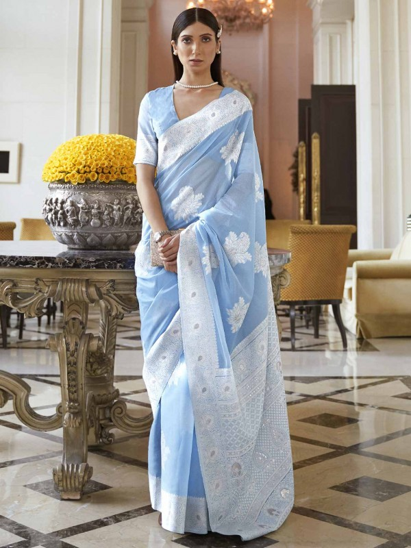 Sky Blue Colour Silk Saree With Weaving Work.