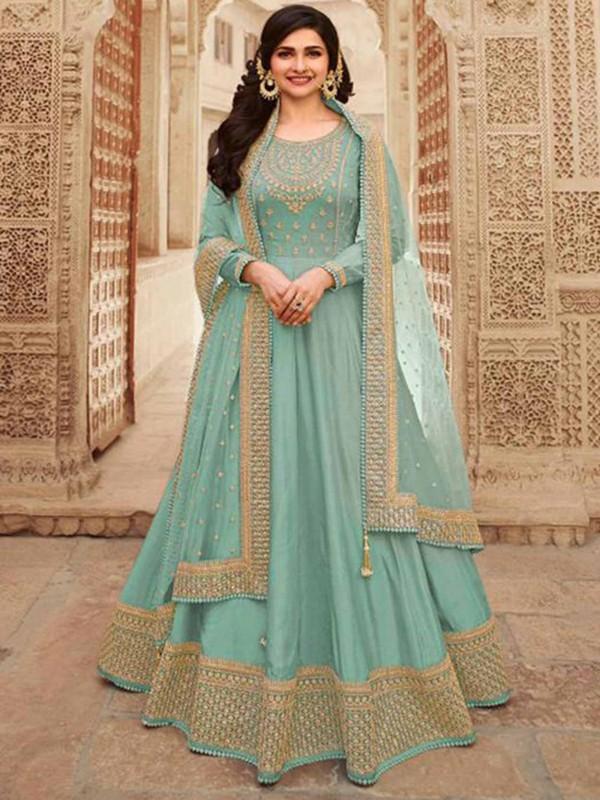 Sky Blue Colour Silk Fabric Anarkali Salwar Suit.