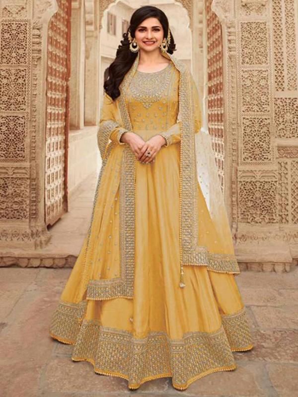 Yellow Colour Silk Designer Salwar Suit.