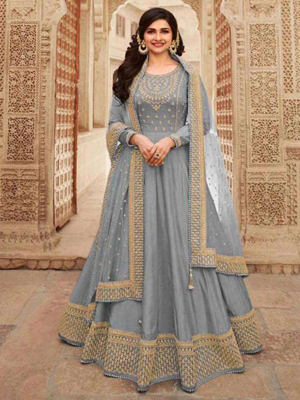Silk Fabric Bollywood Salwar Suit Grey Colour.