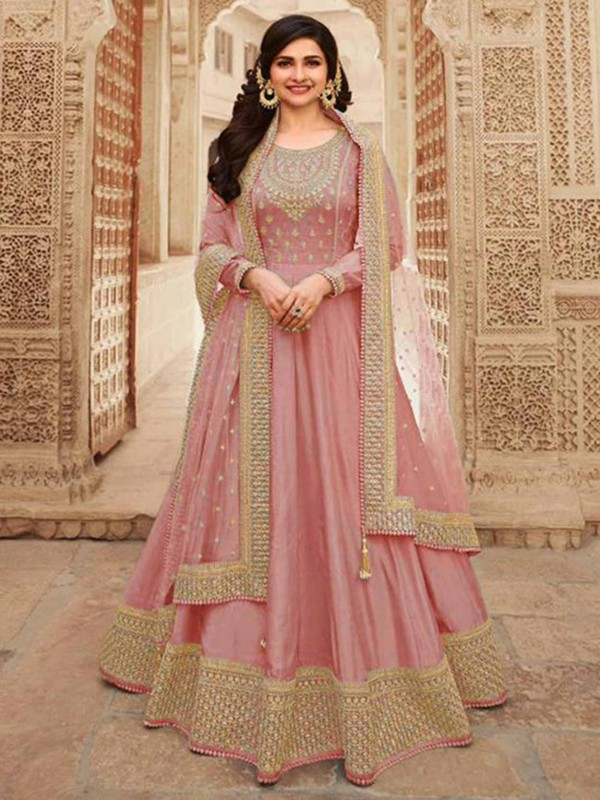 Pink Colour Silk Fabric Designer Salwar Suit.