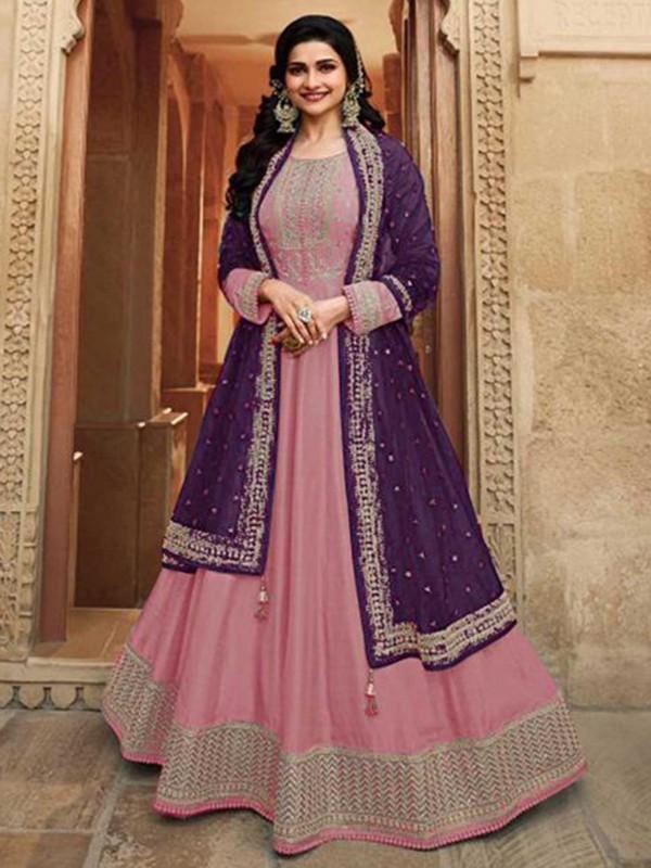 Pink Colour Silk Fabric Bollywood Salwar Suit.