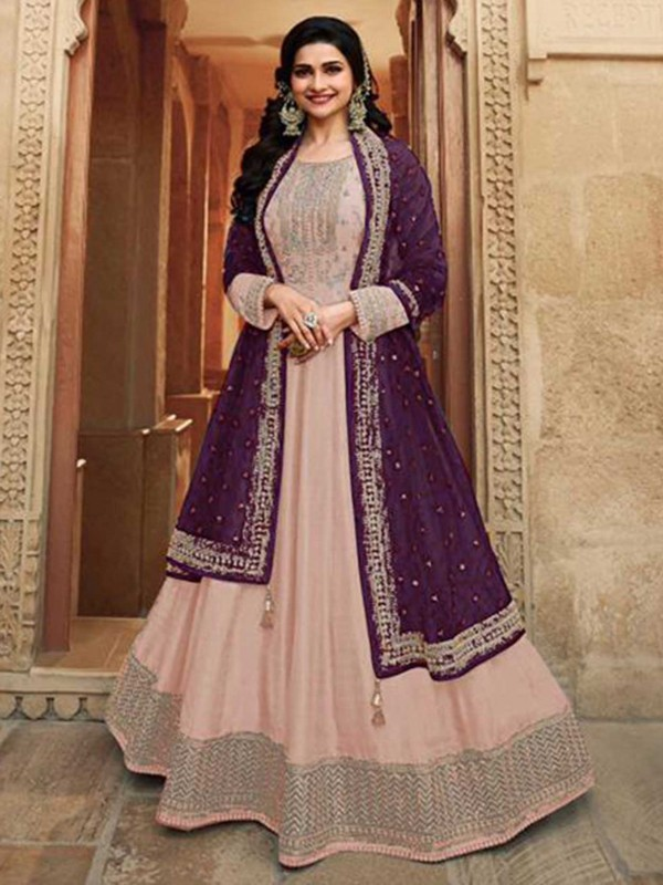Peach Colour Silk Designer Salwar Suit.
