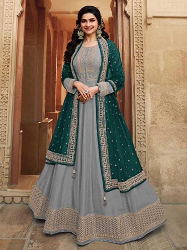 Grey Colour Silk Anarkali Salwar Suit.