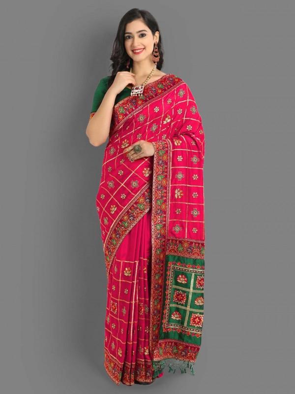 Pink Colour Silk Fabric Designer Saree.