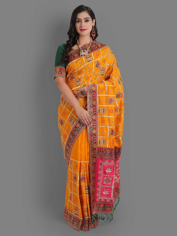 Yellow Colour Silk Fabric Embroidered Saree.
