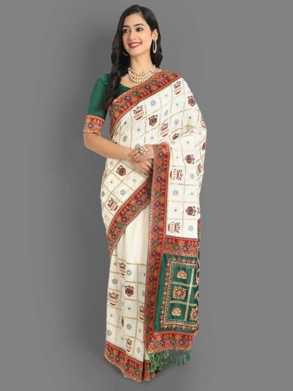 White Colour Silk Designer Saree.