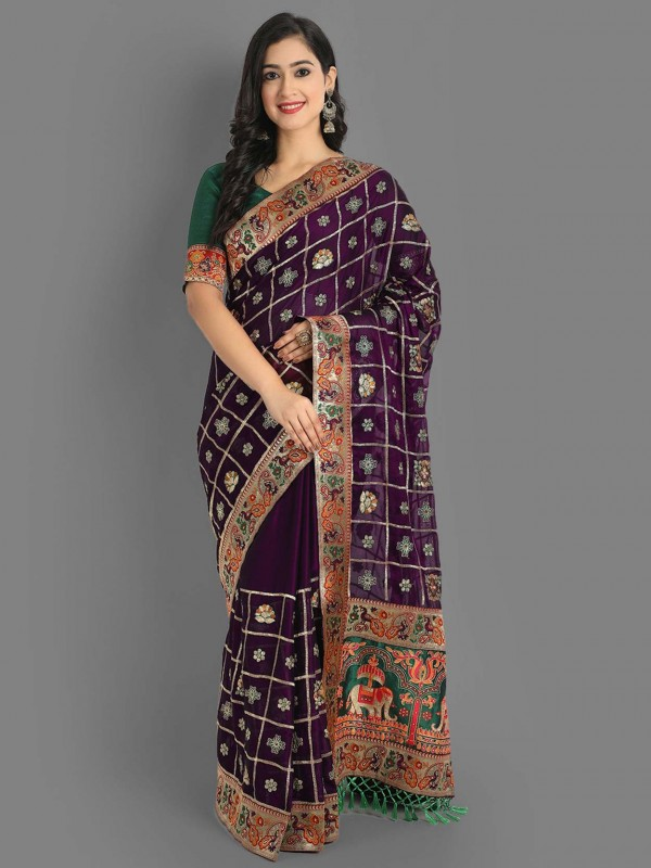 Purple Colour Silk Designer Saree.