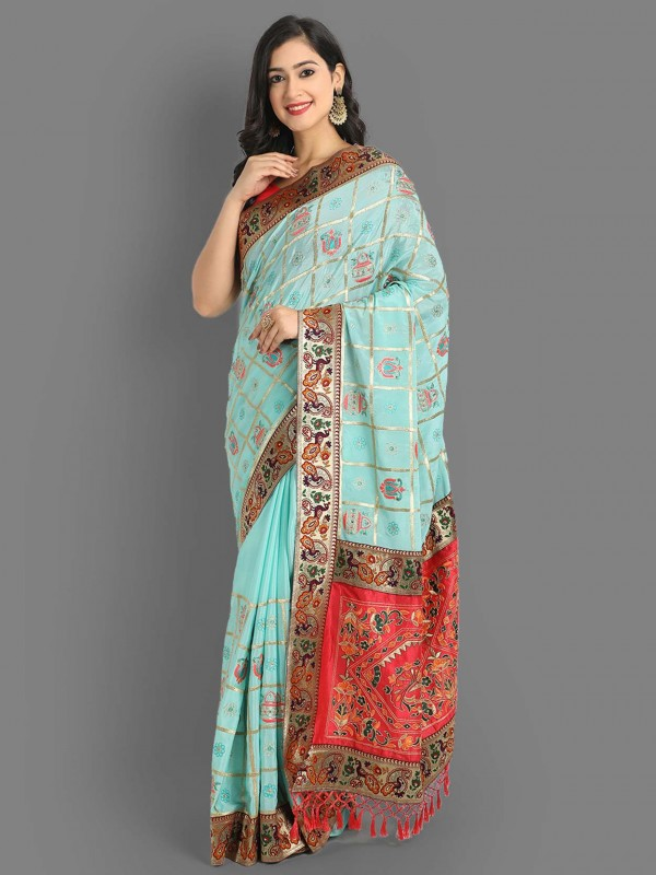 Blue Colour Silk Saree With Embroidery Work.