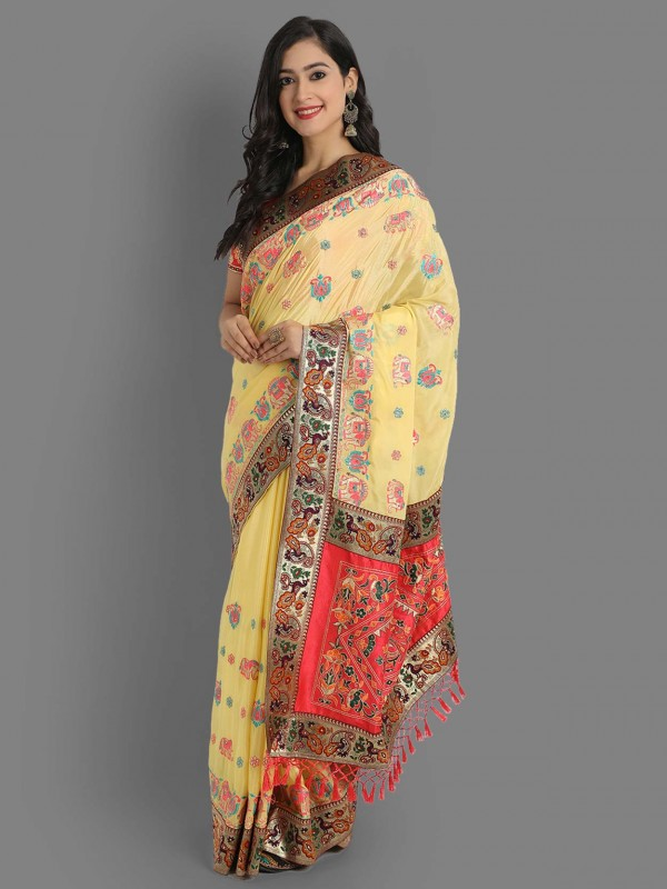 Yellow Colour Silk Fabric Traditional Saree.
