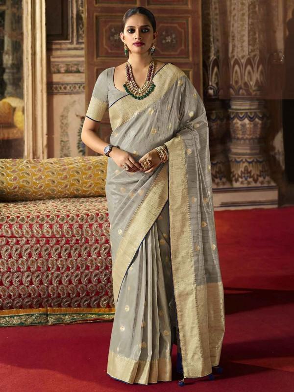 Grey Colour Silk Fabric Weaving Saree.