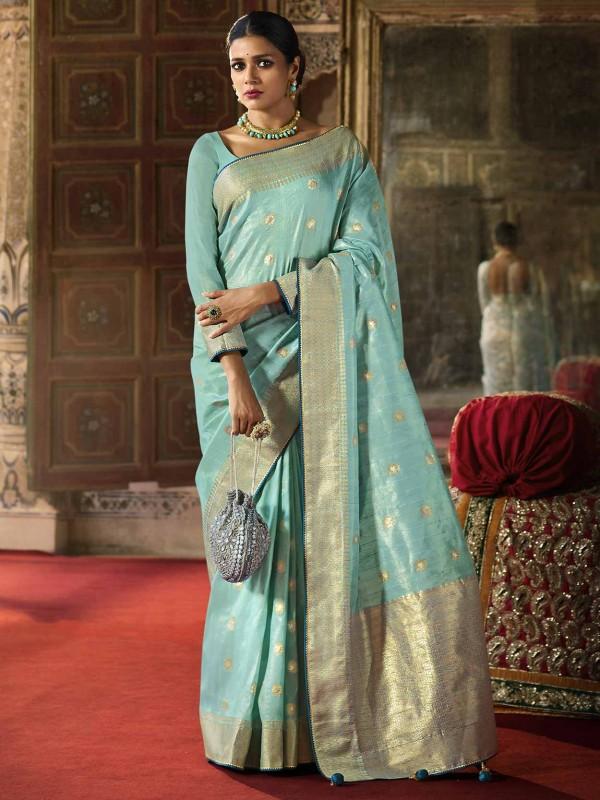 Silk Designer Saree Turquoise Colour.