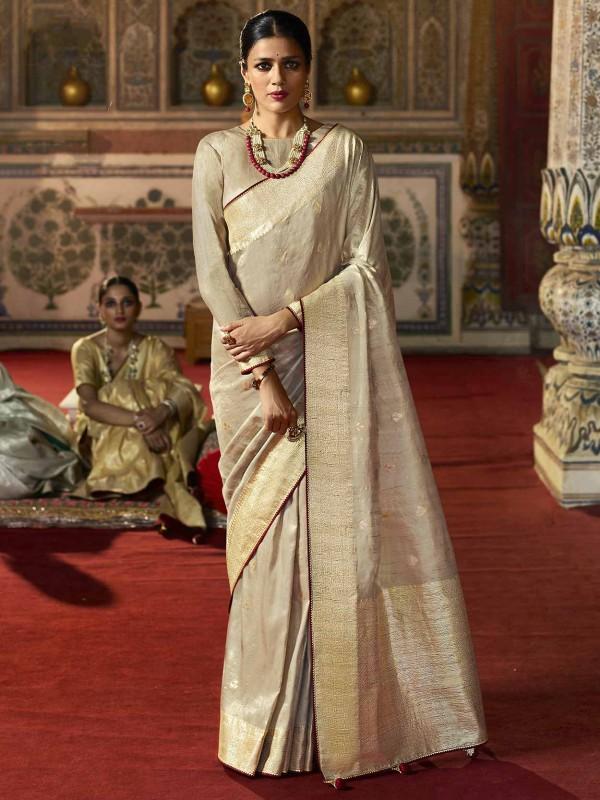 Beige Colour Silk Fabric Traditional Saree.