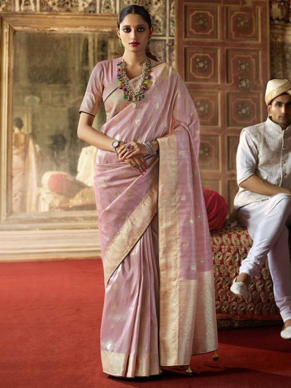 Pink Colour Silk Designer Saree.