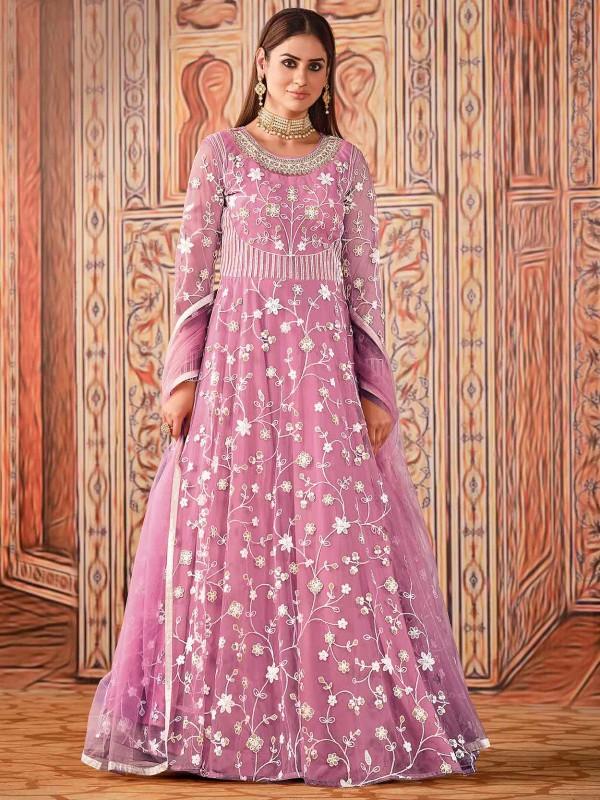 Pink Colour Net Fabric Anarkali Salwar Suit.