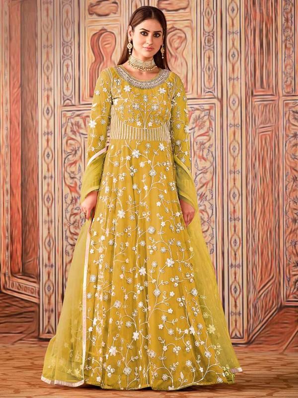 Net Anarkali Salwar Kameez Yellow Colour.