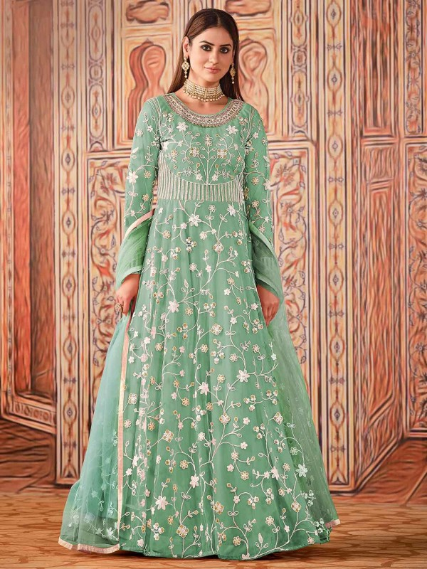 Green Colour Net Fabric Designer Salwar Suit.
