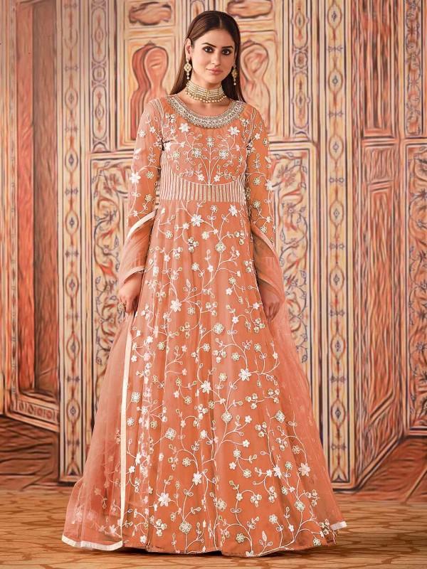 Orange Colour Net Fabric Anarkali Salwar Kameez.
