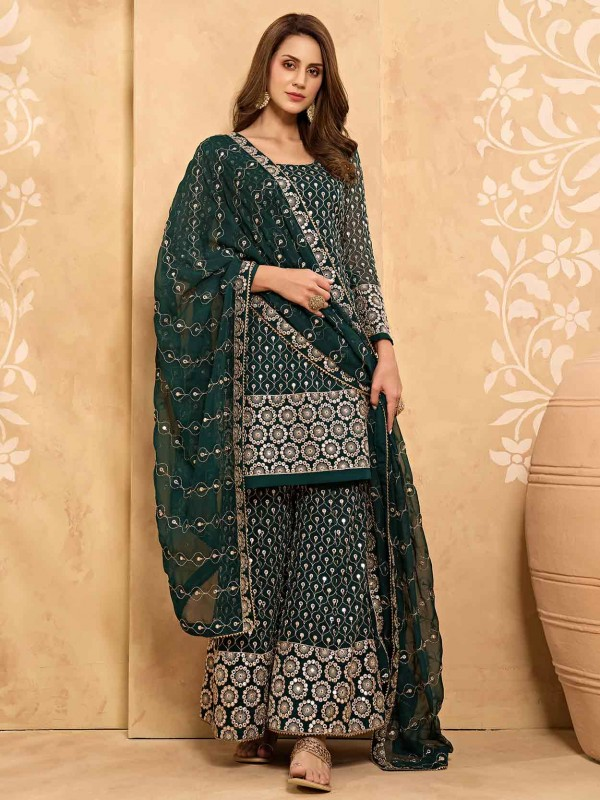 Green Colour Georgette Fabric Designer Sharara Salwar Suit.