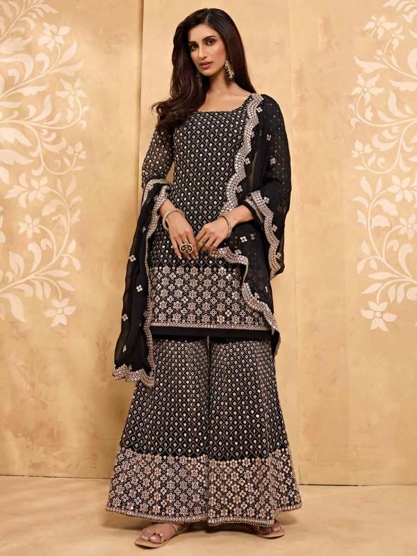 Black Colour Georgette Salwar Suit.