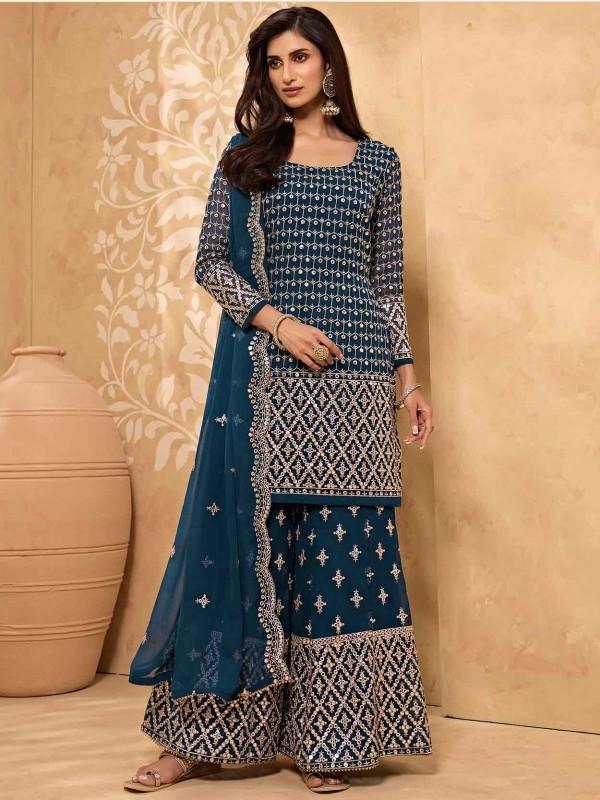 Blue Colour Sharara Salwar Suit Georgette Fabric.