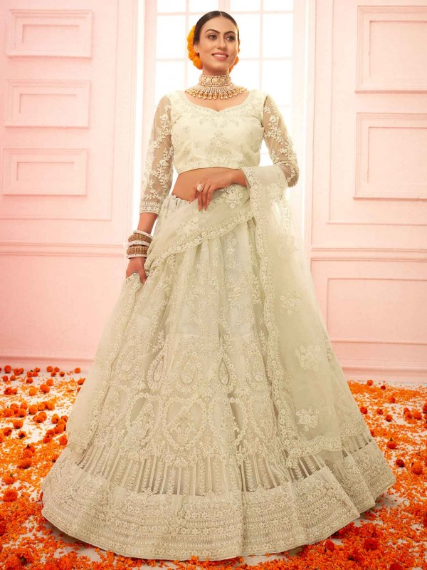 Cream Colour Net Designer Lehenga Choli.