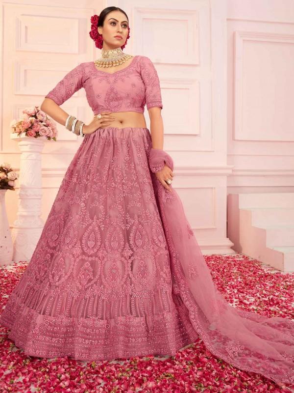 Net Designer Lehenga Choli Pink Colour.