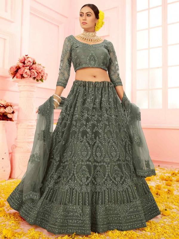 Green Colour Net Fabric Lehenga Choli With Embroidery,Stone Work.