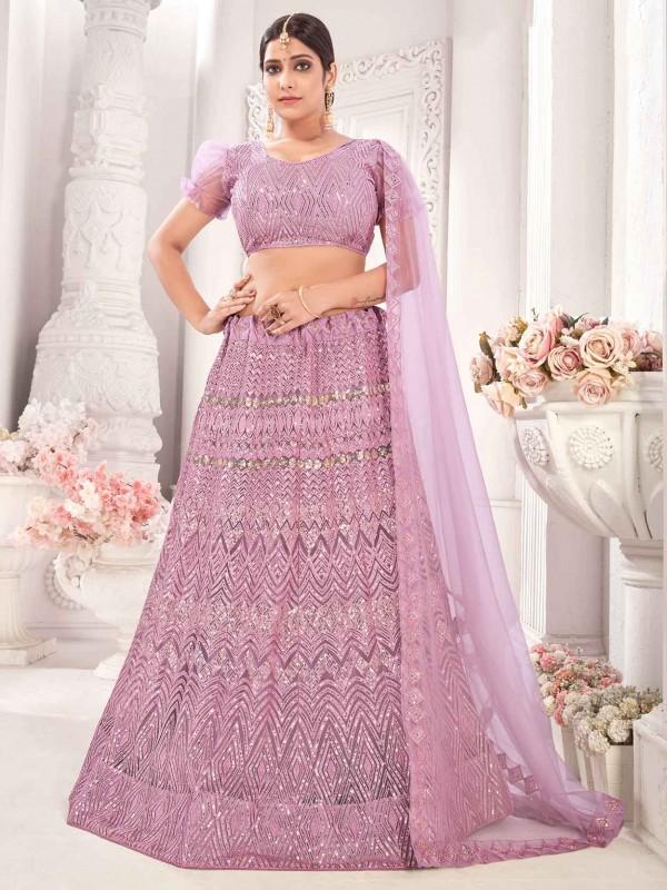 Purple Colour Net Fabric Lehenga Choli With Sequin,Embroidery Work.