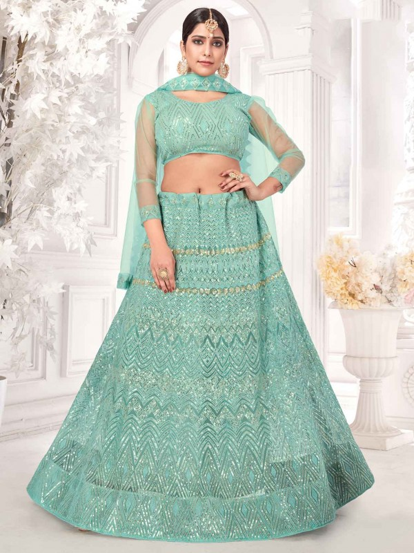 Turquoise Colour Net Fabric Lehenga Choli.