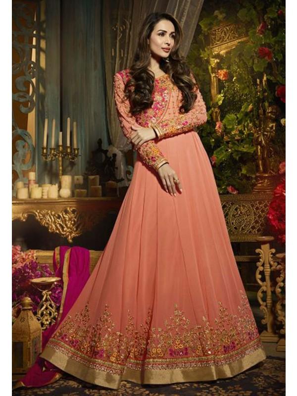 Orange,Pink Color Designer Salwar Suit.