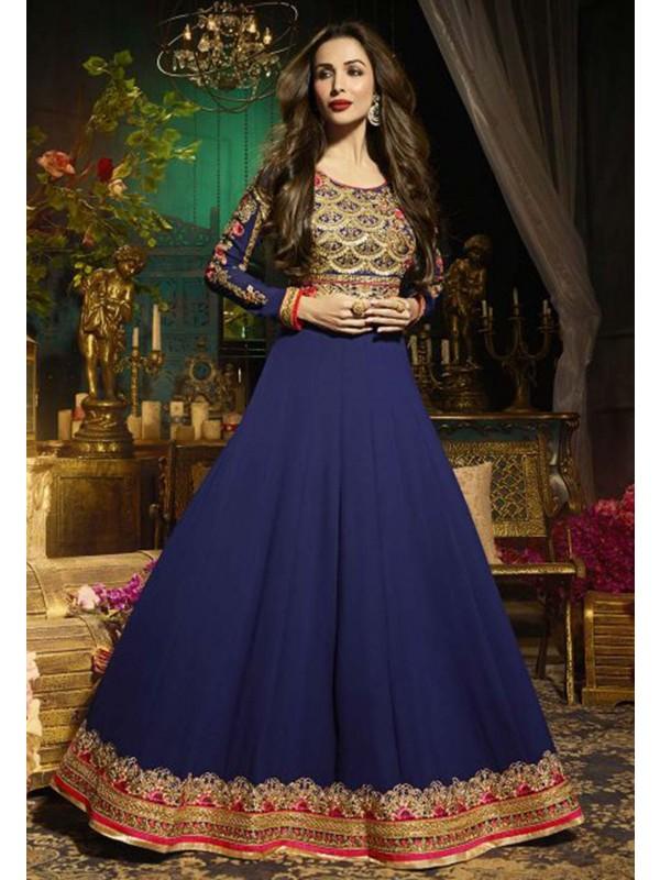 Blue Color Anarkali Salwar Suit.