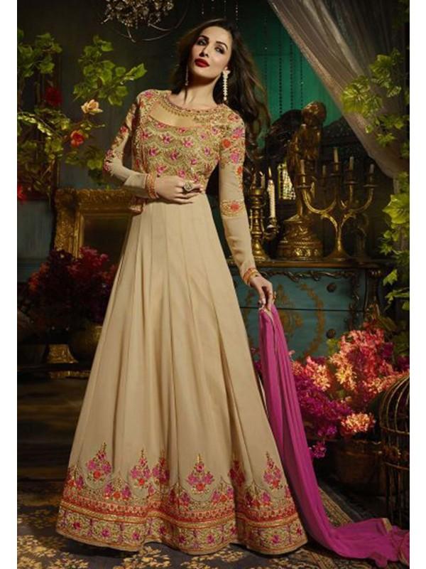 Beige Color Party Wear Salwar Suit.
