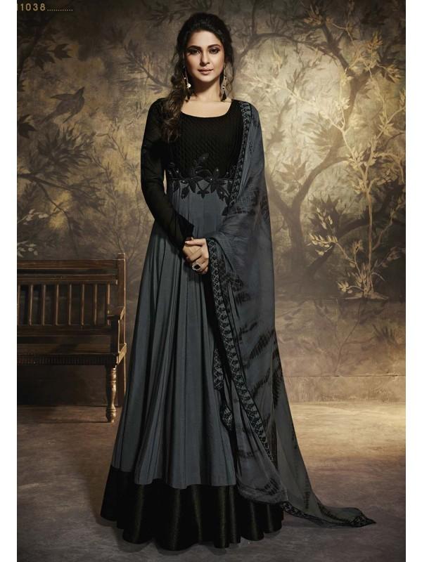 Black,Grey Colour Bollywood Party Wear Salwar Kameez.