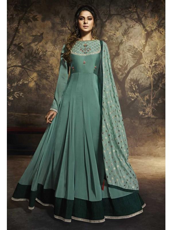 Green Colour Banarasi Silk Anarkali Salwar Suit.