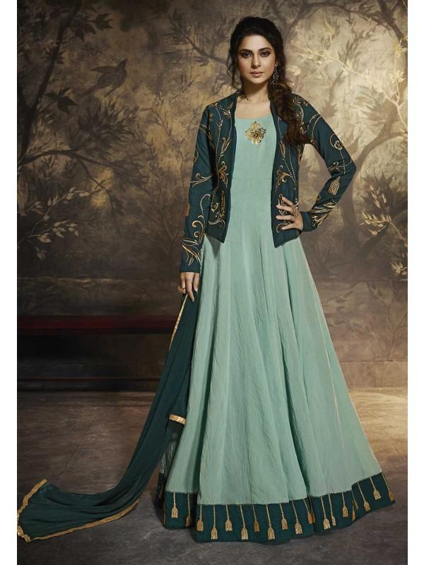Blue,Turquoise Colour Anarkali Salwar Suit.