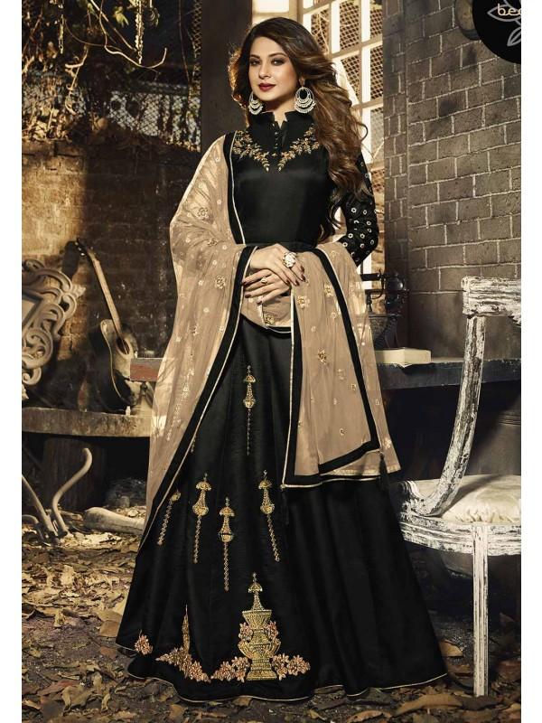 Silk Party Wear Salwar Suit in Black Colour.