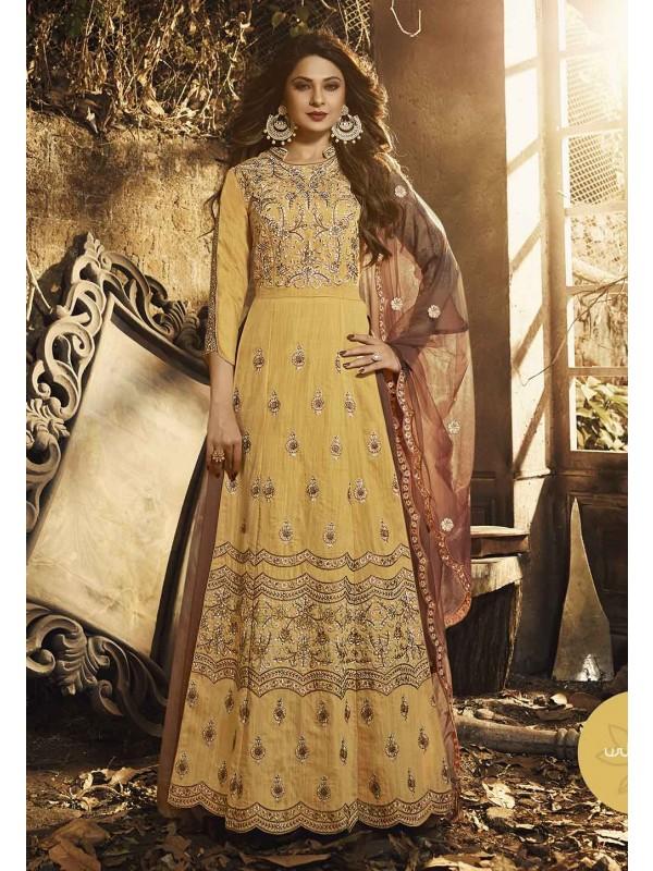 Gold,Yellow Colour Indian Designer Salwar Suit.