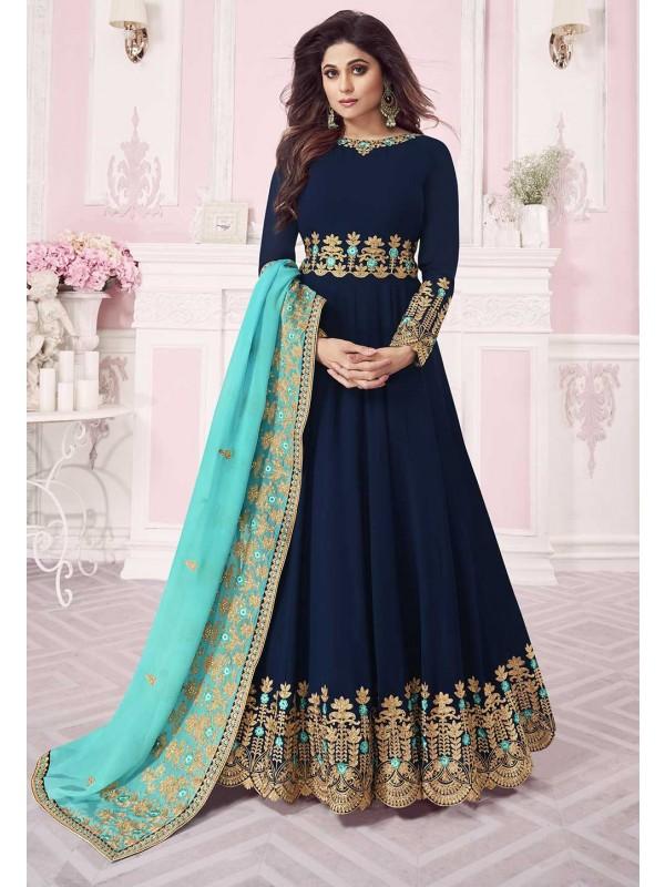 Blue Colour Party Wear Salwar Kameez.