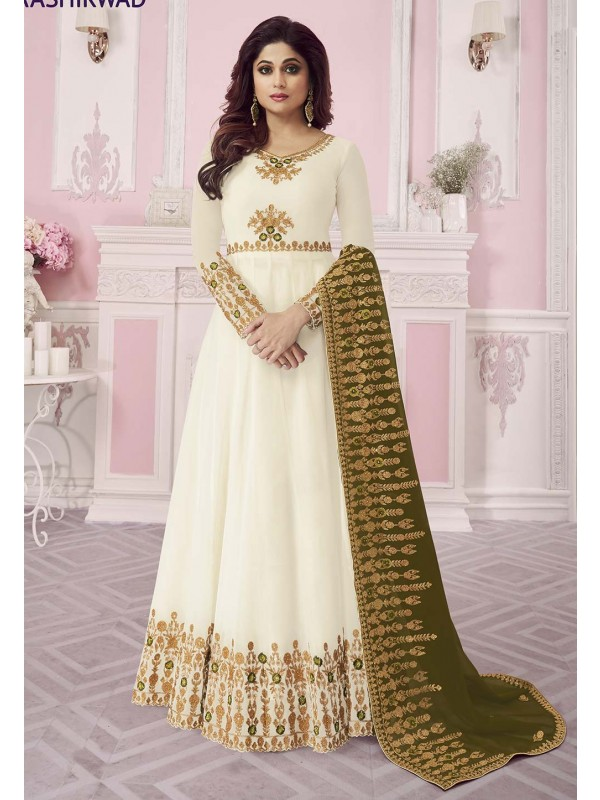 Off White Colour Georgette Salwar Suit.