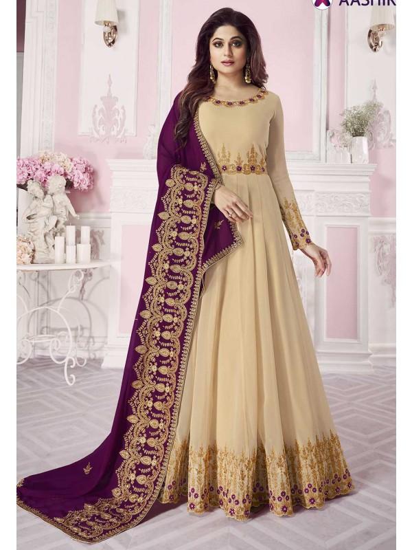 Beige Colour Designer Anarkali Salwar Suit.