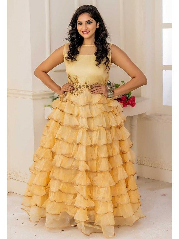 Designer Indowestern Gown In Yellow Colour.