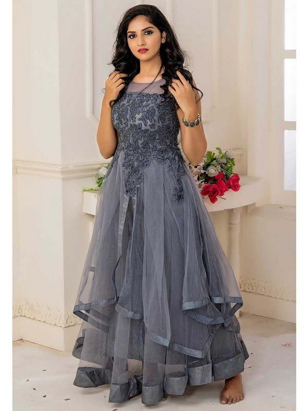 Grey Colour Women's Indowestern Gown.