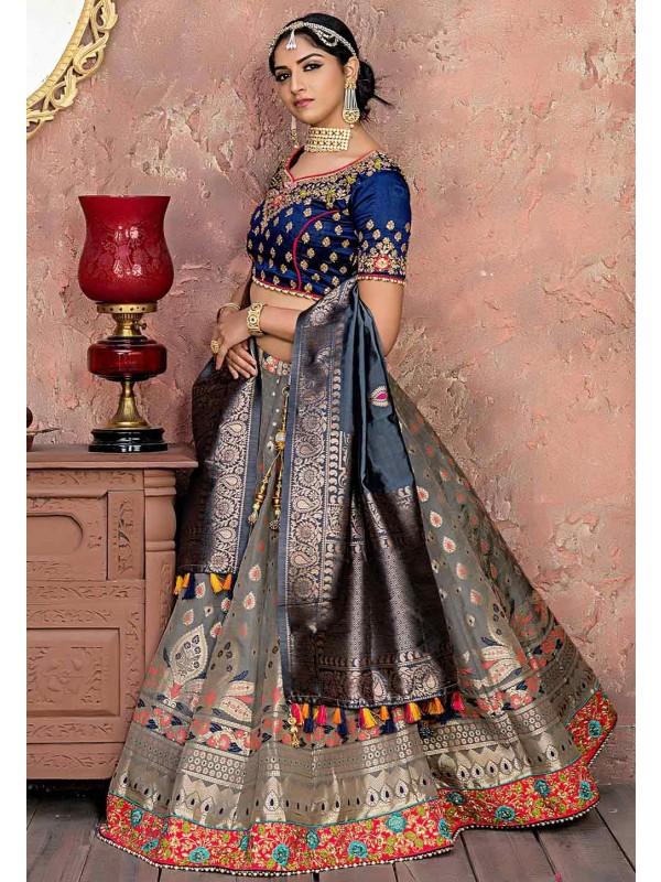 Grey Colour Banarasi Silk Lehenga Choli.