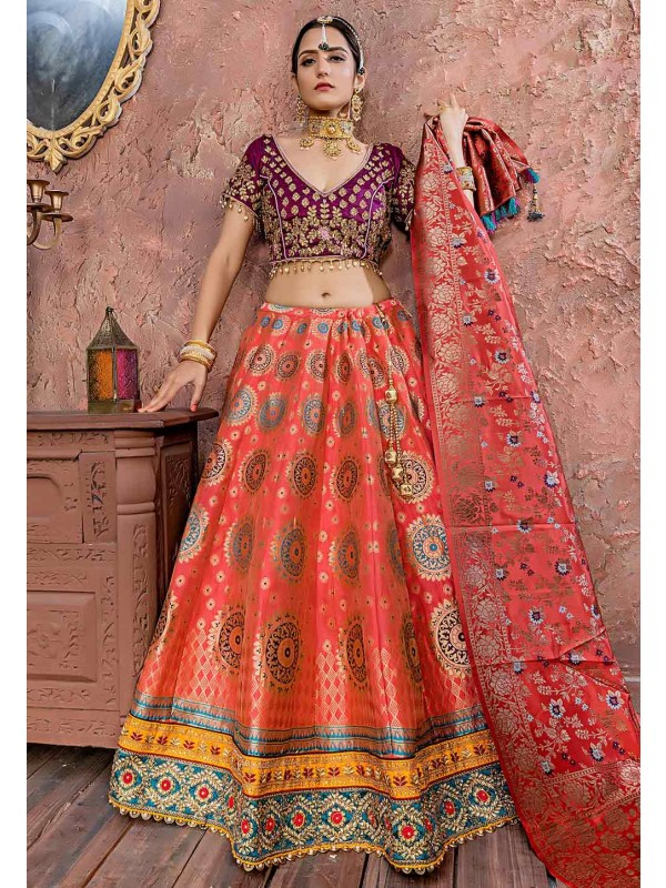 Pink Colour Banarasi Silk Lehenga Choli.